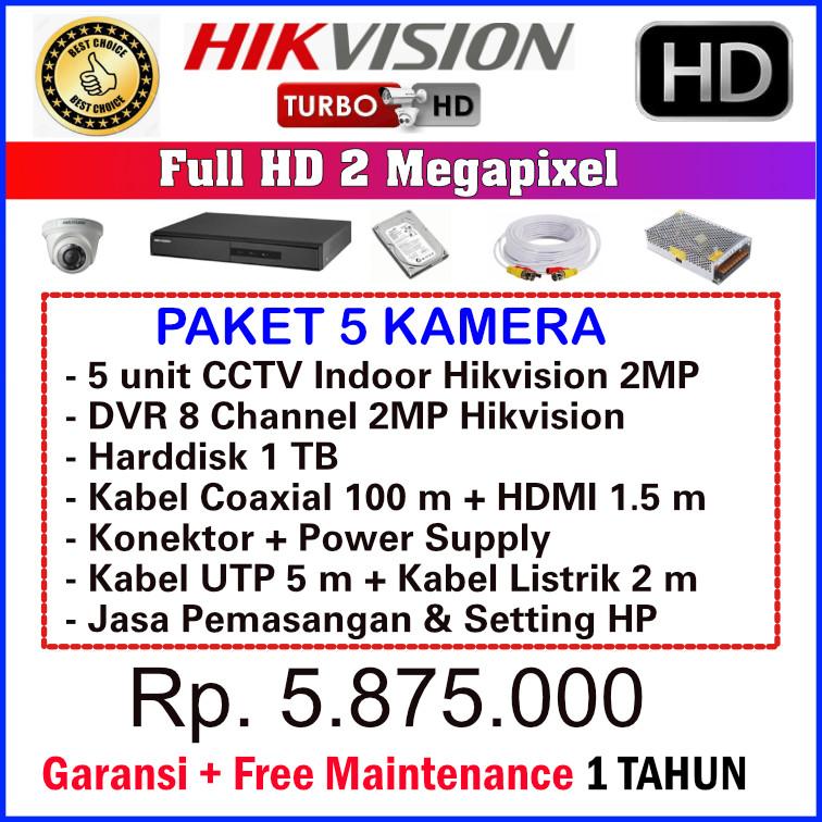 Paket CCTV Hikvision 2MP - 5 Kamera